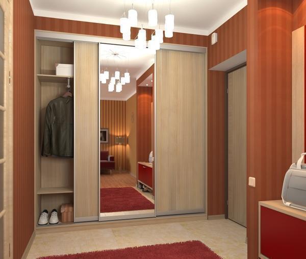 Скрытая мебель, вмонтированная в стены, не просто часть узкого коридора, ее дизайн позволяет сэкономить площадь помещения и прекрасно вписывается в общую стилистику интерьера