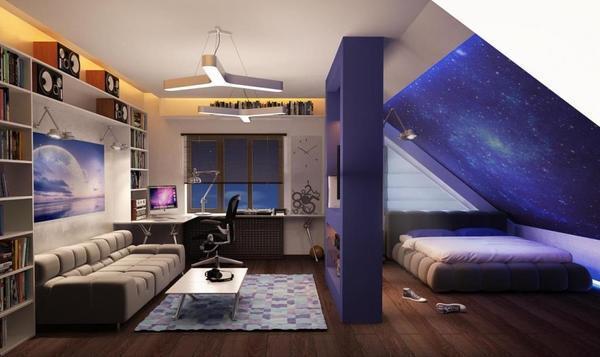 Каждую из зон в комнате необходимо определить визуально, чтобы подросток играл, спал и учился в одном помещении, не испытывая усталости и раздражения