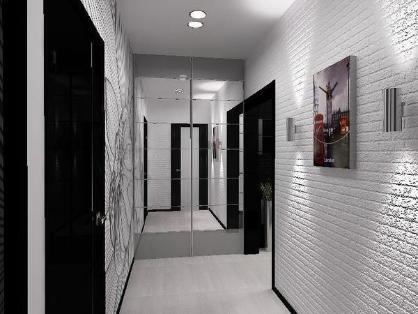 Прихожая в черно-белом стиле - один из самых простых вариантов оформления коридора