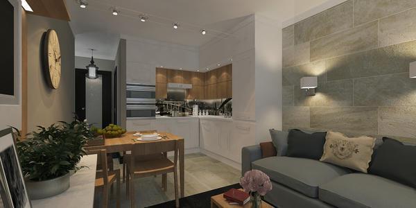 Люстру между кухней и гостиной вешать не рекомендуется, лучше сделать отдельное освещение из небольших светильников для каждой зоны