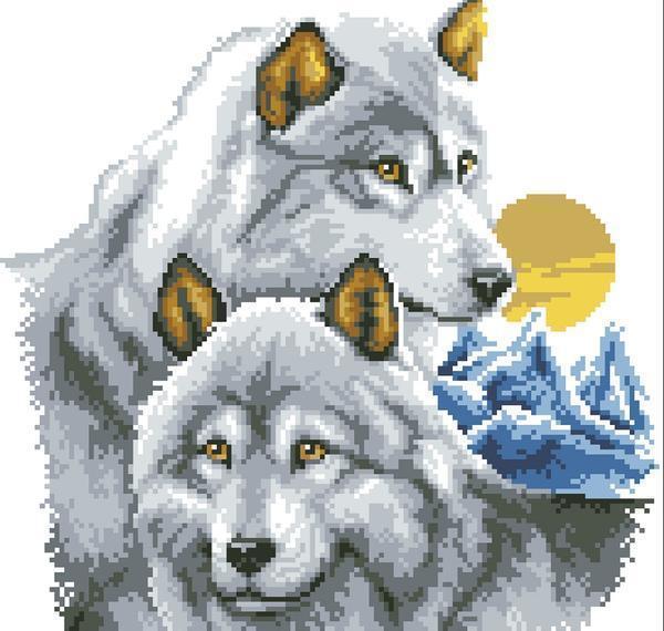 """Схема вышивки """"Белый волк"""" подходит для начинающих, поскольку не содержит сложных элементов"""