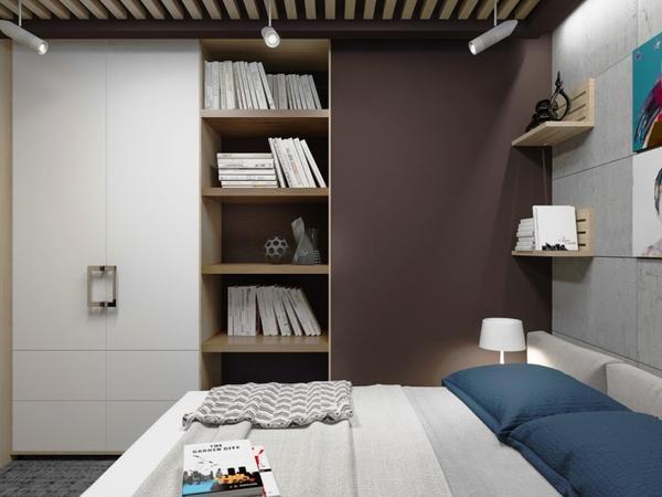 Шкаф в маленькой спальне в стиле лофт должен соответствовать длине и ширине одной из стен, тогда он сольется с общим дизайном