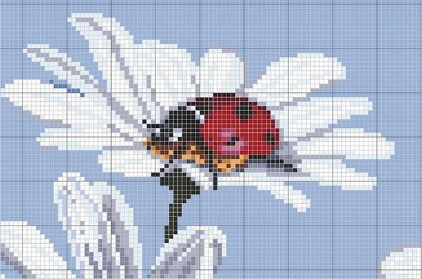 Простая схема вышивки ромашки станет идеальным вариантом для тренировки начинающих вышивальщиц