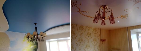 Наибольшей популярностью пользуются однотонные потолки, однако, при желании, можно заказать полотно с рисунком