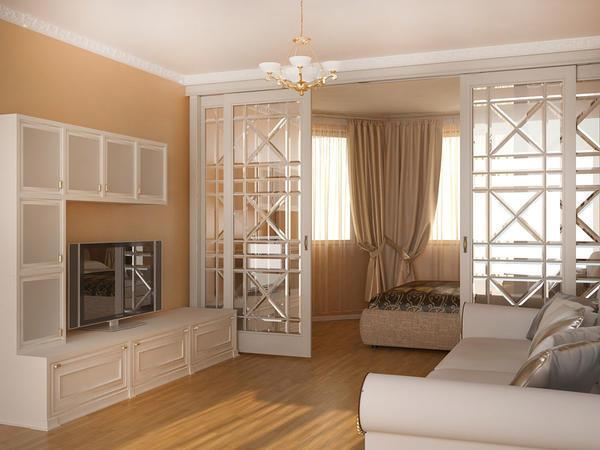 Зонирование спальни дает возможность использования комнаты для разных целей