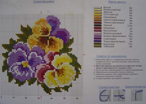 Анютины глазки вышивка крестом схемы: скачать бесплатно без регистрации цветы