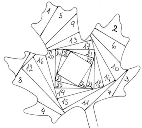 Для создания узора методом пэчворк можно воспользоваться шаблоном, на котором цифрами указан порядок очередности крепления деталей