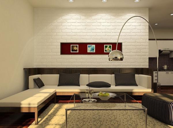 В гостиную, сделанную в стиле хай-тек, отлично впишется облицовочная плитка под кирпич