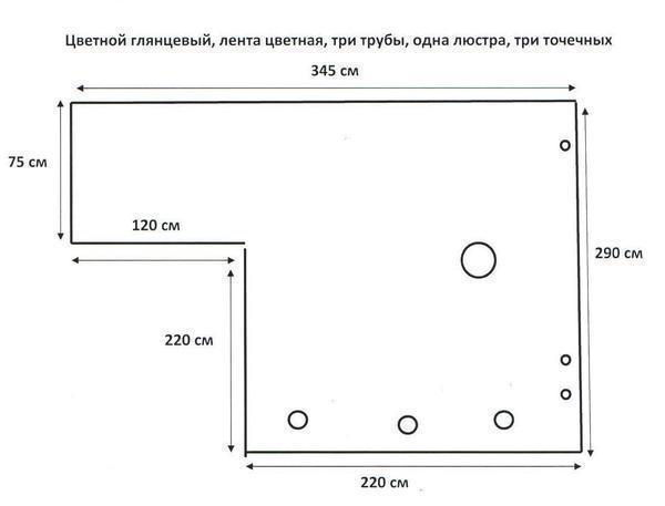 Для замера конструкции натяжного потолка требуется нарисовать эскиз комнаты и произвести замеры по всему периметру
