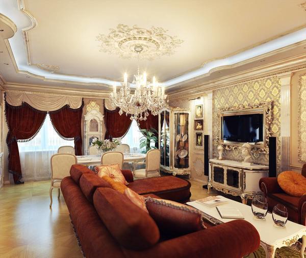Гипсокартонный потолок способен идеально дополнить дизайн гостиной и подчеркнуть его уникальность