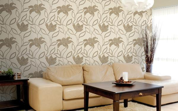 Под бежевые обои отлично подойдет мебель коричневого цвета