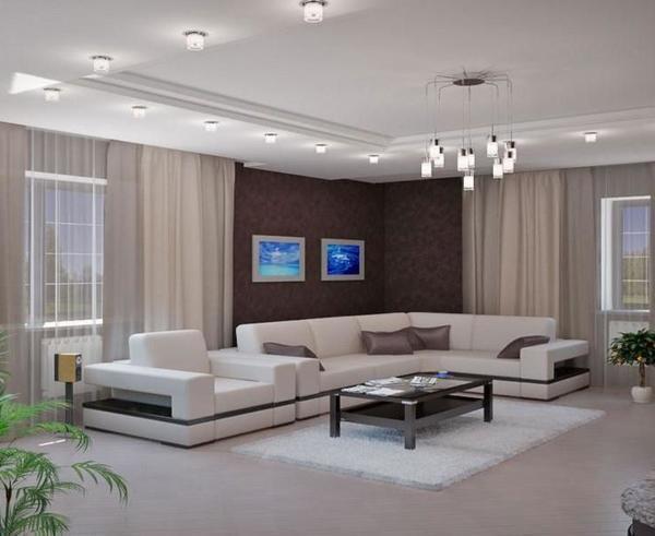 Перед началом ремонтных работ необходимо определиться с дизайном зала и с подбором мебели