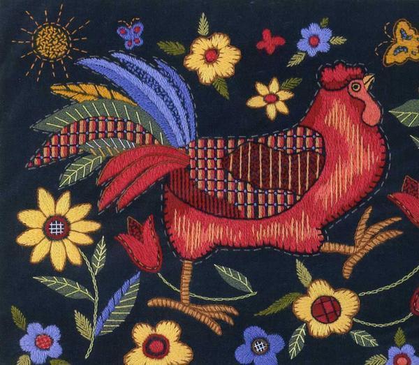 Даже старинные вышивки с петухами станут прекрасным элементом декора