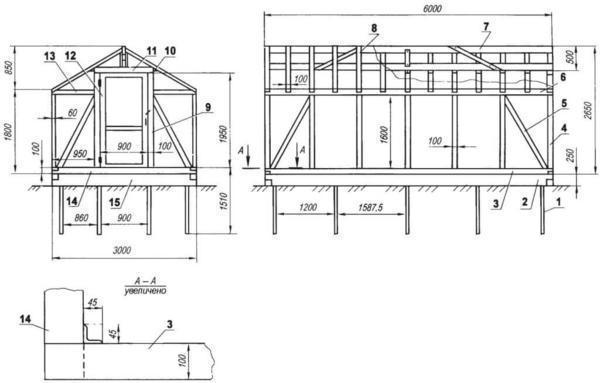 Деревянная теплица с фундаментом из бруса может легко демонтироваться и перемещаться в другое место в отличие от кирпичного варианта