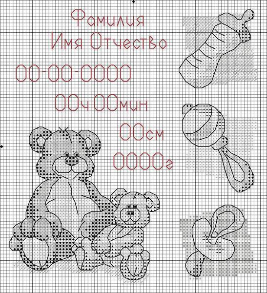Отличным вариантом является изготовление вышивки с указанием даты рождения ребенка