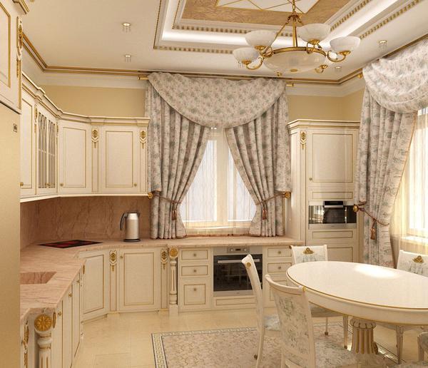 При выборе бежевых занавесок на кухню обязательно нужно учитывать дизайн помещения