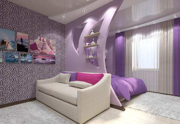 Простым вариантом разделить гостиную и спальню является возведение перегородки с гипсокартона