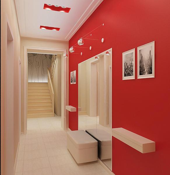 Прихожая будет выглядеть стильно и креативно, если она будет оформлена в красном цвете