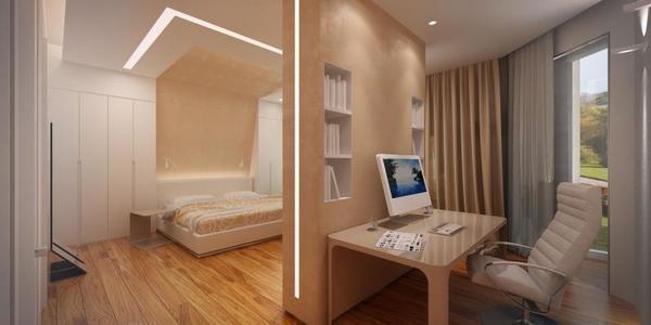 Разделение дизайна комнаты на спальню и кабинет позволяет зонировать пространство