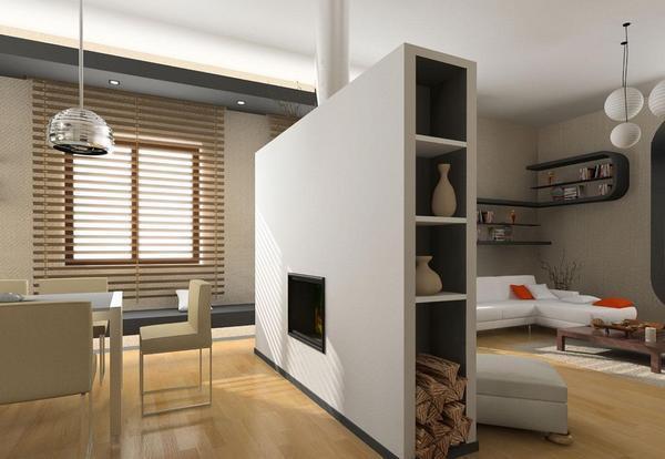 Из гипсокартона можно сделать многофункциональную перегородку, разделяющую кухню и гостиную
