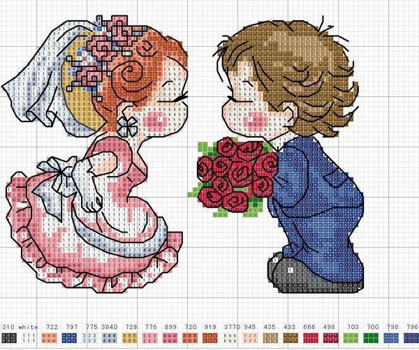 Для вышивания влюбленной пары рекомендуется подбирать такую схему, на которой отсутствуют лишние элементы, а все внимание акцентируется именно на влюбленных