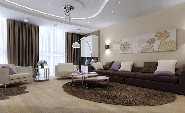 Зонирование помещения поможет вам разграничить гостиную на несколько зон