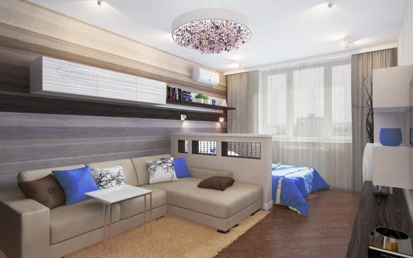 В маленькой комнате можно идеально сделать смежную гостиную и спальню