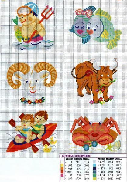 Детские рисунки знаков зодиака вышитые крестиком обязательно понравятся вашим детям