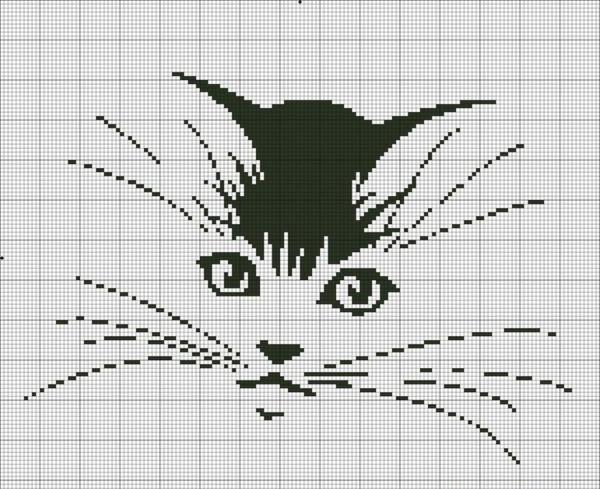 Вышитые на полотнах черно-белые коты выглядят более элегантно и утонченно