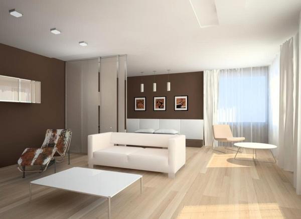 Для совмещенной гостиной и спальни лучше всего использовать стиль минимализм