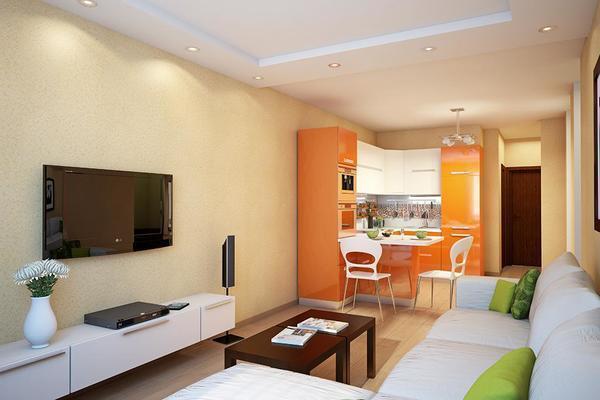 Один из методов разнообразить кухню-гостиную заключается в создании цветового контраста между этими двумя зонами
