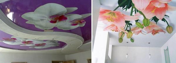 Очень часто фотопечать цветов на натяжном потолке выбирают в спальную комнату