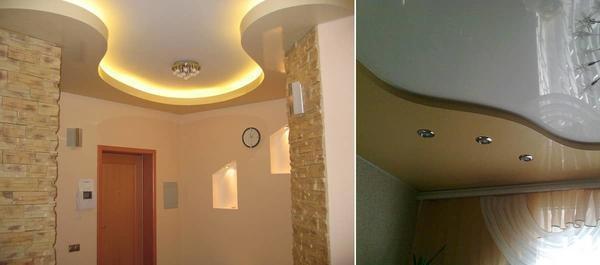 Двухуровневый натяжной потолок можно установить самостоятельно, главное — выполнить точные замеры, правильно сконструировать каркас