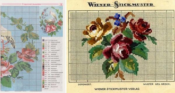 Как правило, в большинстве схем старинной вышивки крестом изображены красивые цветы