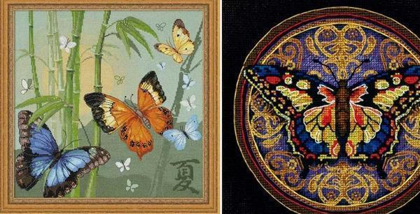 При вышивании бабочек нужно быть внимательным и правильно сочетать цвета