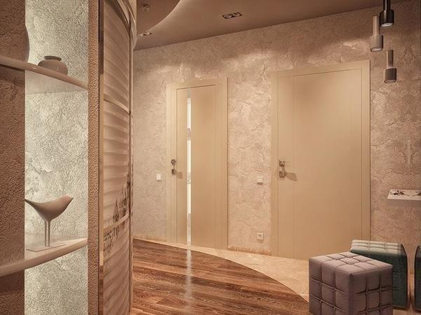 При использовании светлых дверей в прихожей не следует применять яркое освещение, поскольку на дверях могут сильно выделятся загрязнения