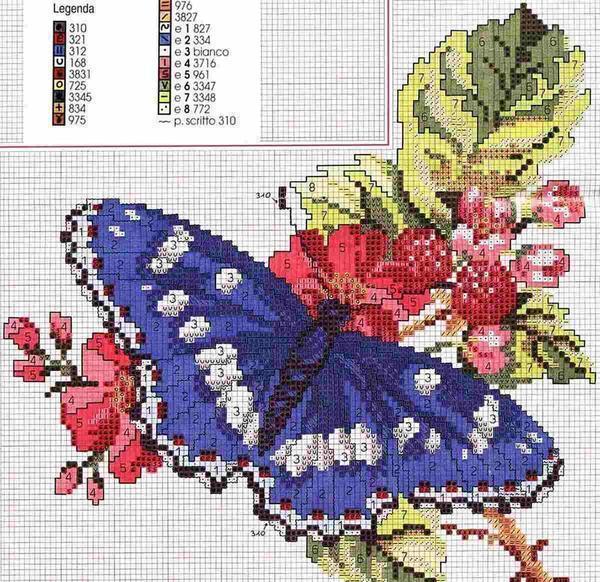 Схем вышивок с бабочками довольно много и найти их не составит большого труда