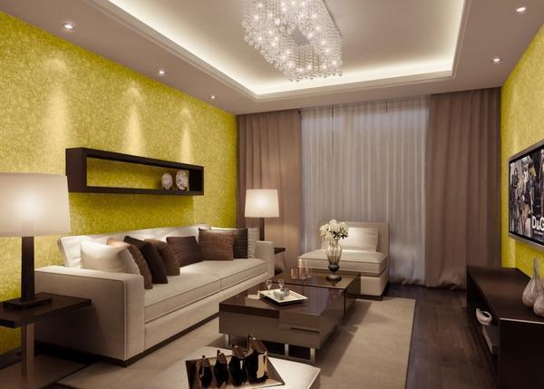 Дизайн гипсокартонного потолка необходимо выбирать так, чтобы он гармонично дополнял интерьер гостевой комнаты