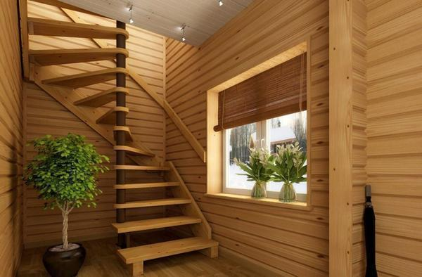 Деревянную лестницу на даче рекомендуется покрыть слоем лака