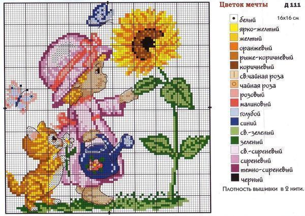 Вышивка с изображением ребенка и цветов станет хорошим подарком для мамы на 8 марта
