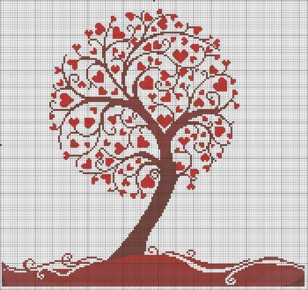 Вышивка дерева из сердец – это довольно трудоемкий процесс, поэтому чтобы справиться с ним, нужно обладать усидчивостью и опытом