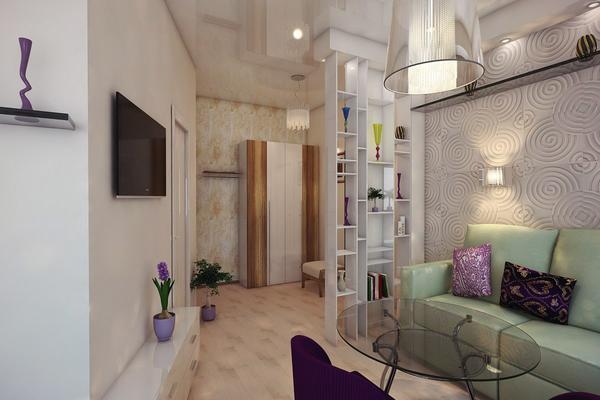 Зонировать пространство двух совмещенных комнат поможет небольшая перегородка