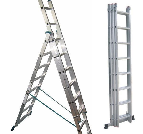 Лестница Алюмет 5310 отлично подходит для выполнения различных строительных работ, например, монтажа карниза