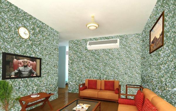 Отличная альтернатива стандартному покрытию стен – жидкие обои, придающие помещению неповторимый вид благодаря особой фактуре
