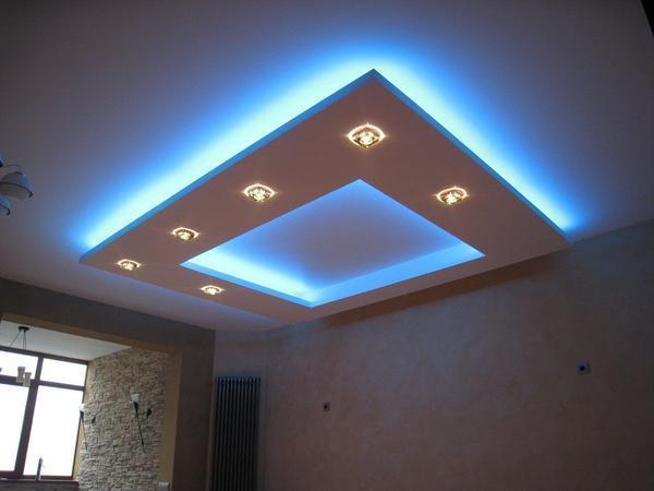 Для декора натяжного потолка прекрасно подходит неоновая подсветка