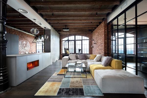 Комнаты в стиле Лофт объединяют в одну большую, оставляя небольшую стенку