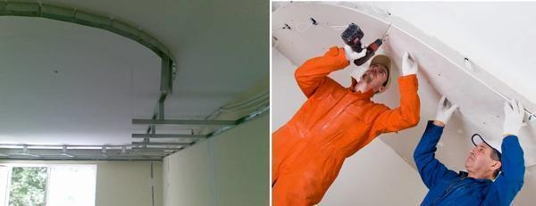 Установка двухуровневого натяжного потолка начинается с монтажа нижнего уровня (каркаса)