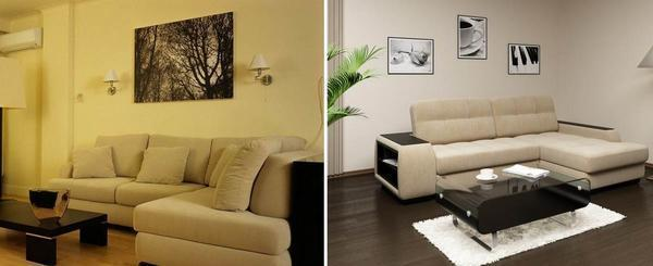 Если ваша гостиная маленькая, то лучшим вариантом для нее станет угловой диван, который сэкономит пространство