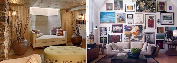 Многие дизайнеры не советуют загромождать маленькую гостиную, а также вешать много картин на стену