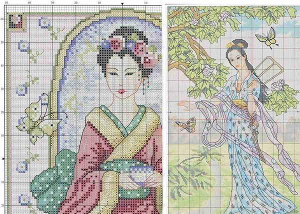 Вышитая крестиком картина «Девушки с бабочками» смотрится очень красиво и станет отличным подарком для близкого человека